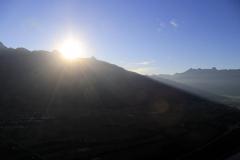Sonnenuntergang vor der Landung in Vaduz